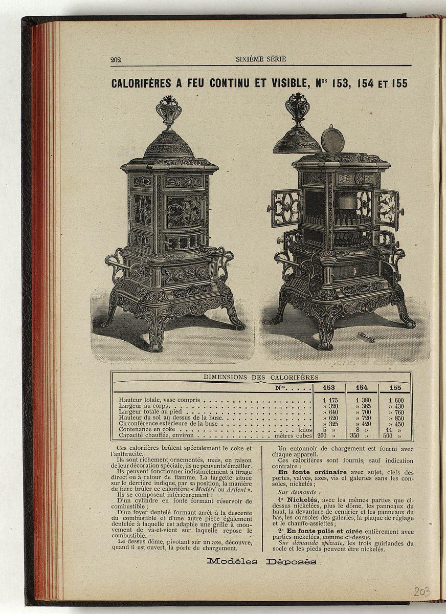 La page du catalogue présente deux vues du calorifère, dont l'une toutes portes