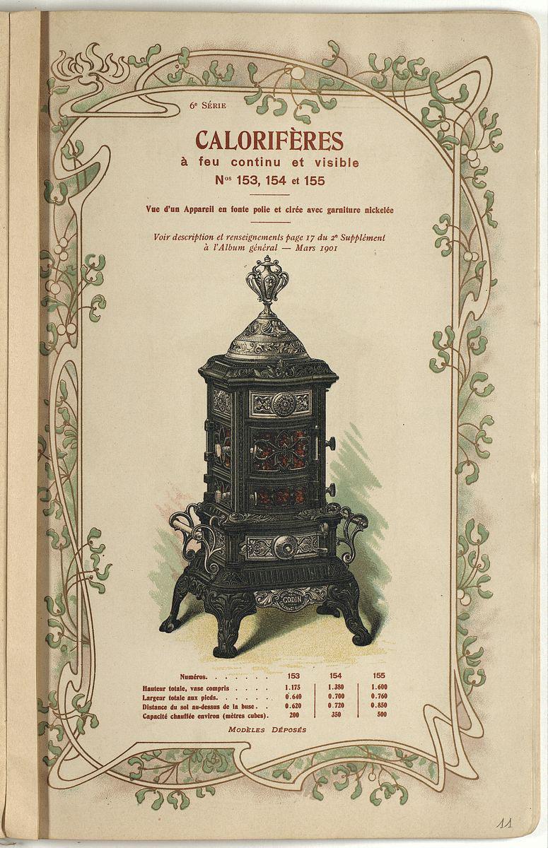 La page du catalogue présente une lithographie en couleurs du modèle de calorifè