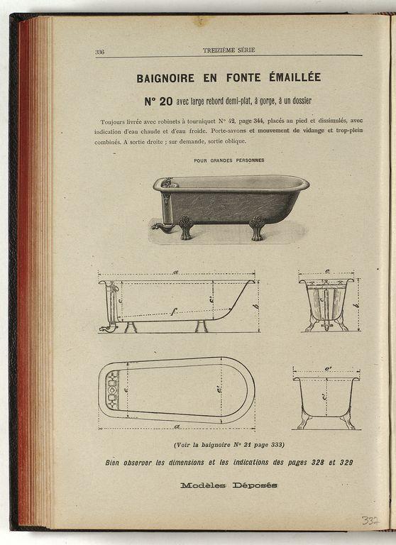 La page du catalogue montre élévation et coupes d'une baignoire.
