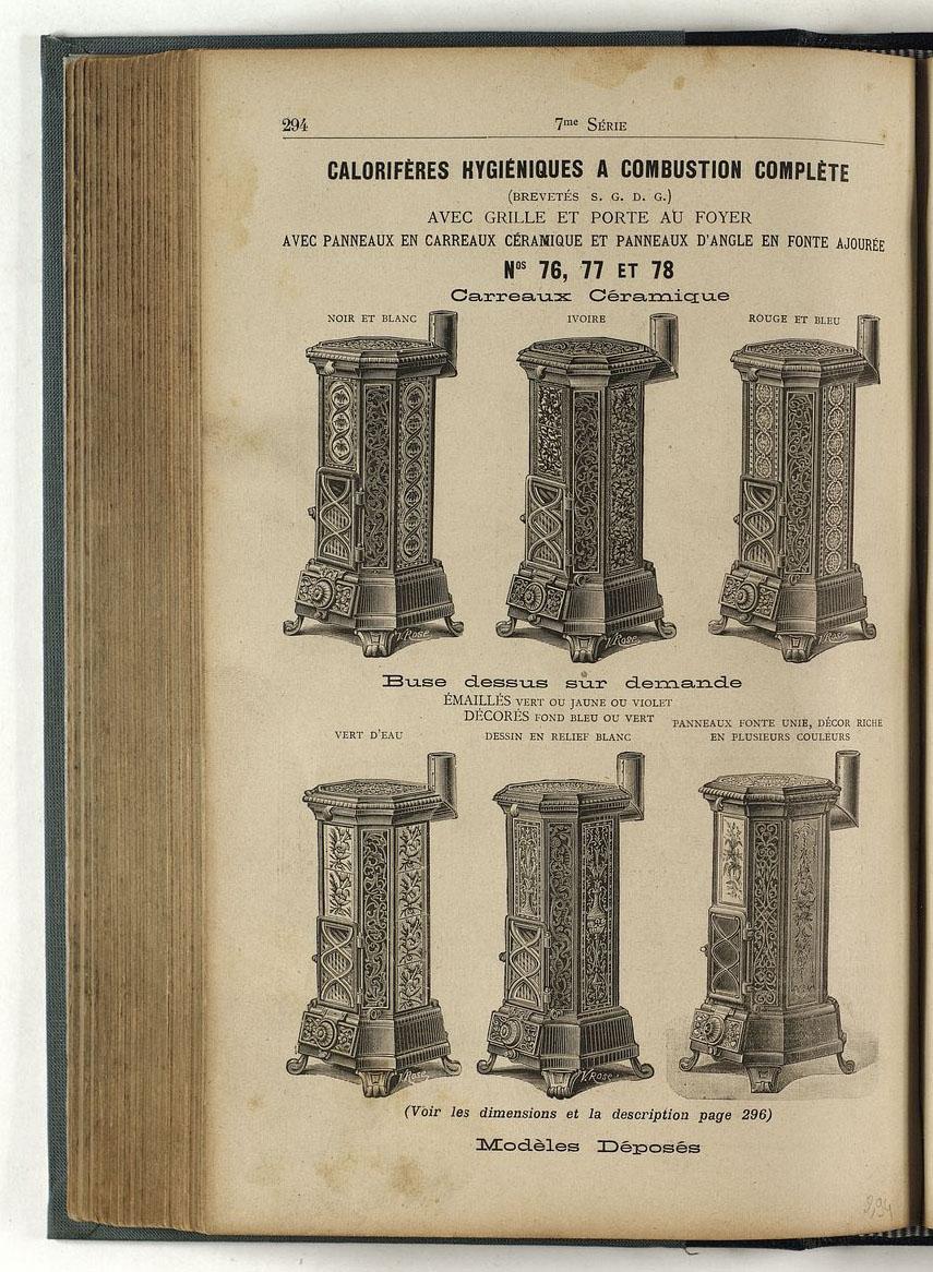 la page du catalogue présente plusieurs modèles de calorfières.