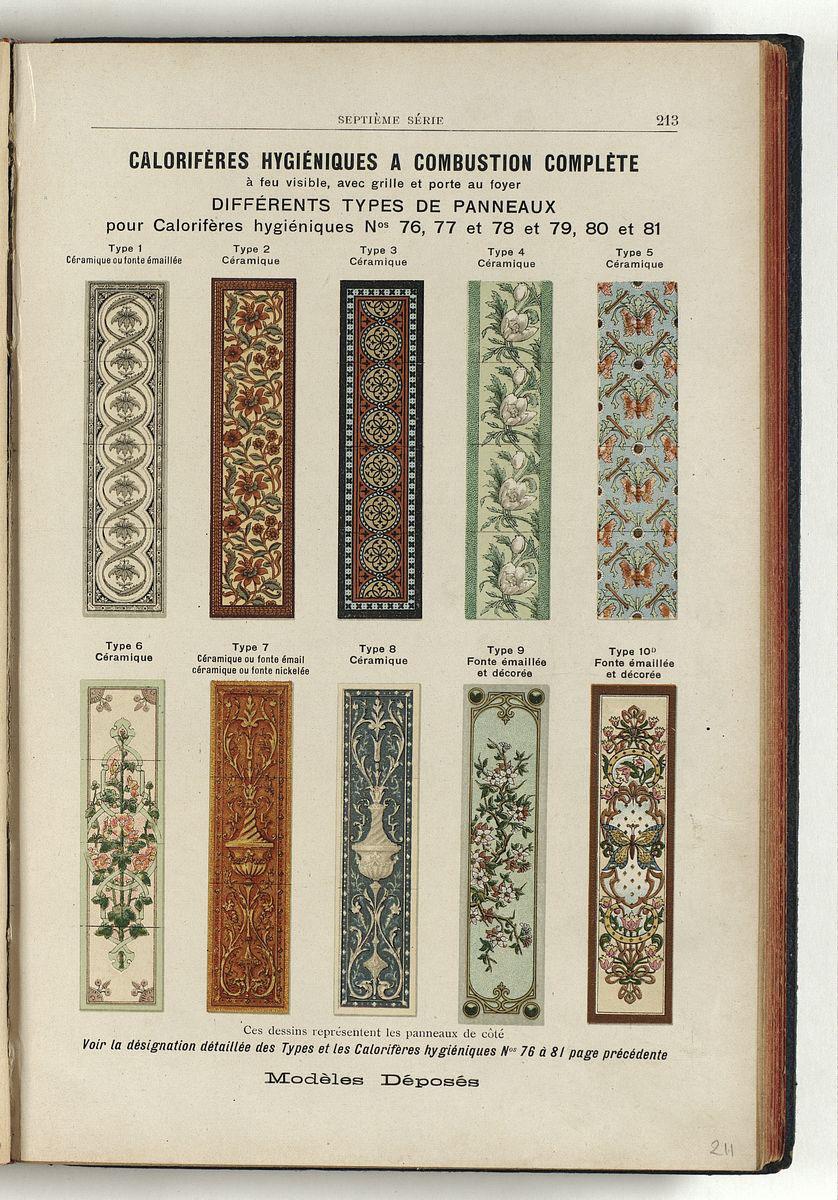 la page présente différents panneaux décoratifs émaillés.