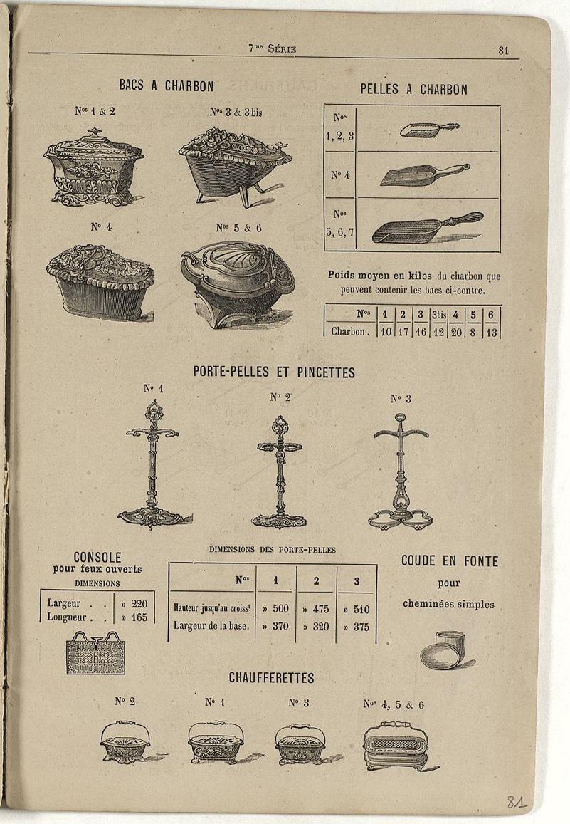 La page du catalogue montre divers accessoires, dont les bacs à charbon.