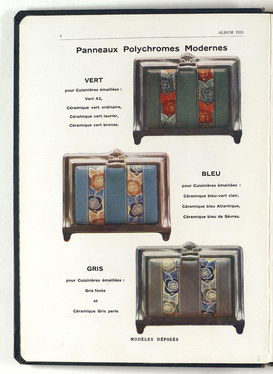 La page du catalogue présente une série de décors pour portes de cuisinières éma