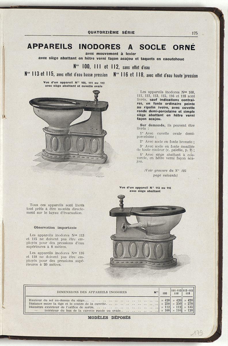 La page du catalogue présente des appareils sanitaires à socle orné.