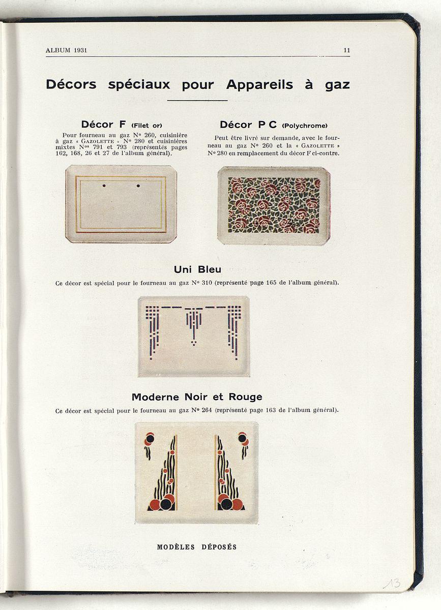 La page imprimée en couleur présente plusieurs types de décor émaillé.
