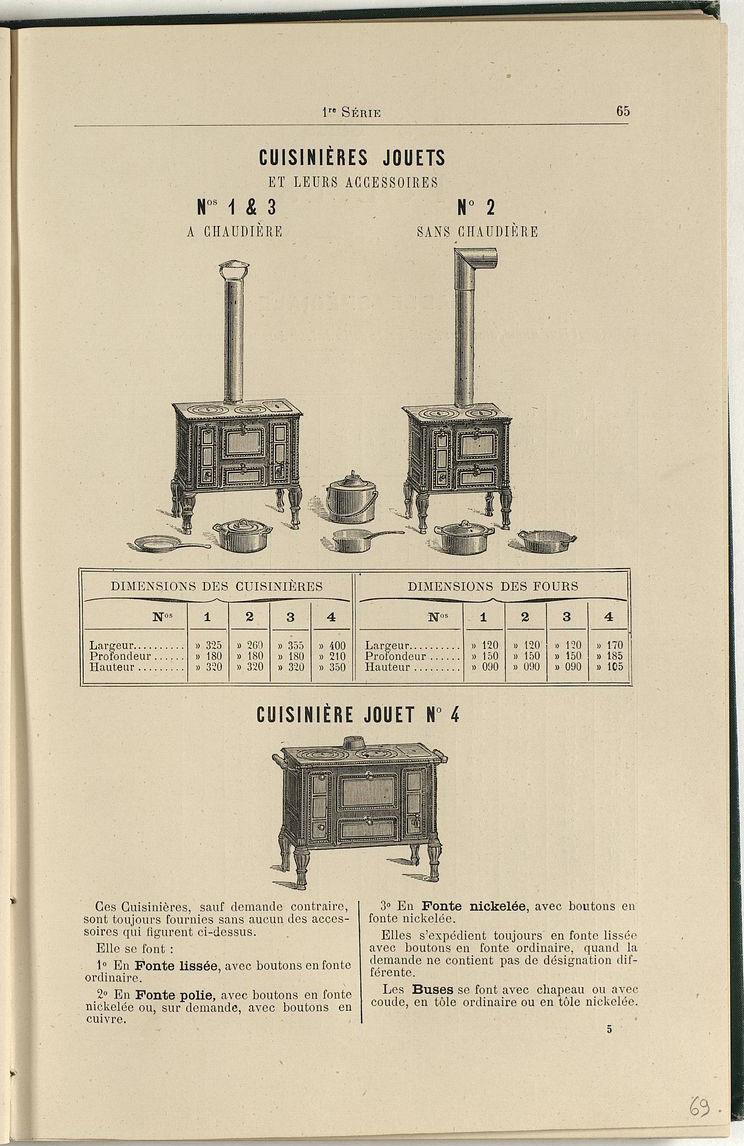 La page de l'album de 1887 présente les cuisinières jouets.