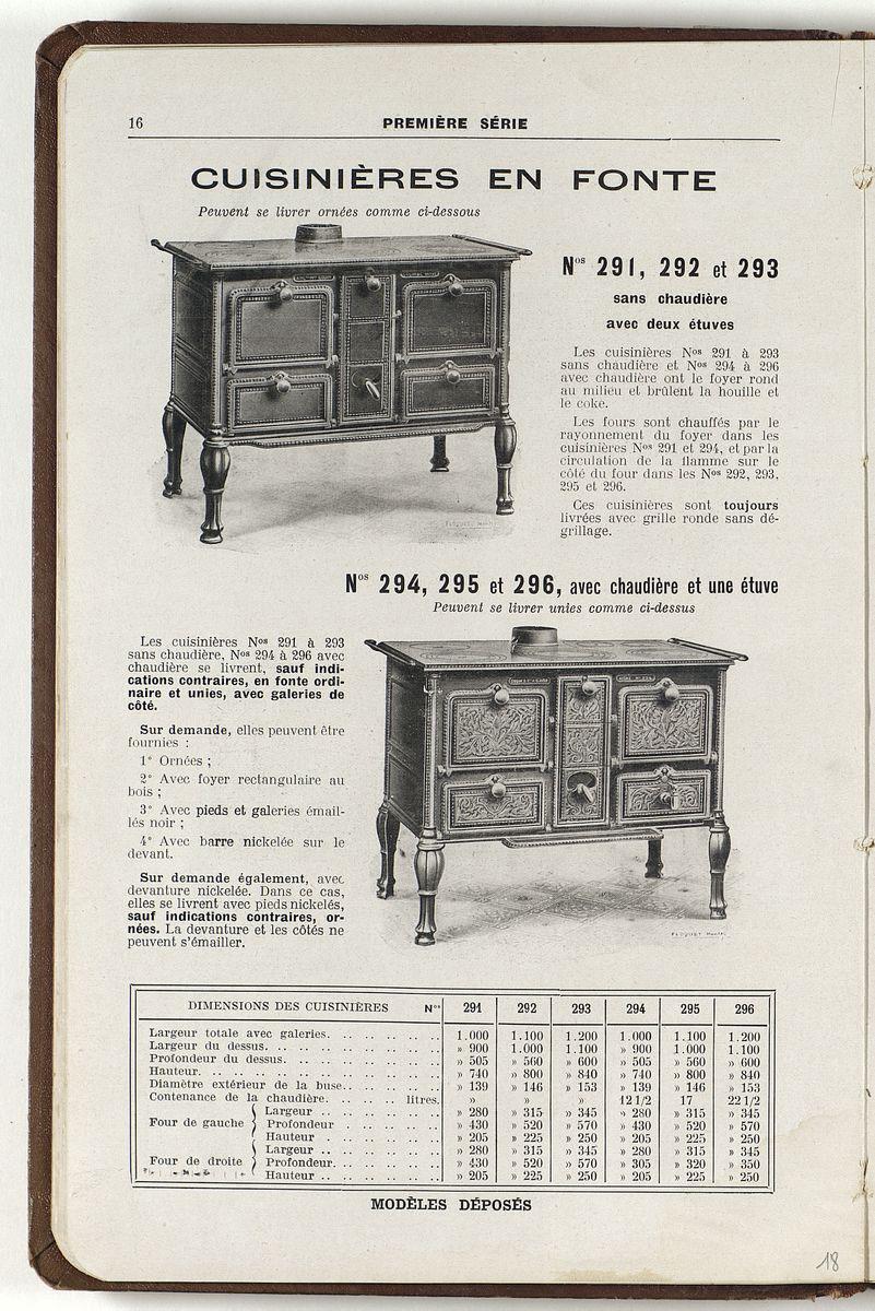 La page du catalogue présente les cuisinières numéros 291 à 296.