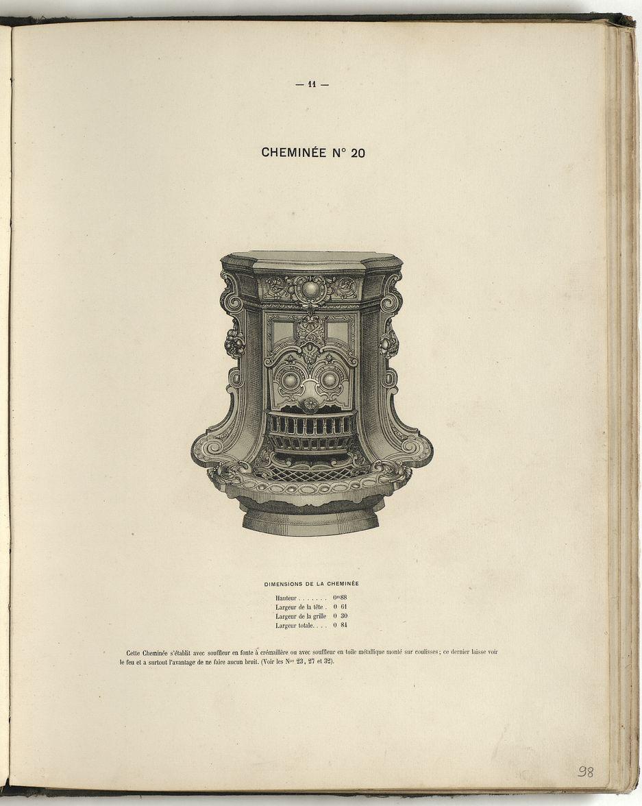 La page du catalogue présente la cheminée n° 20.