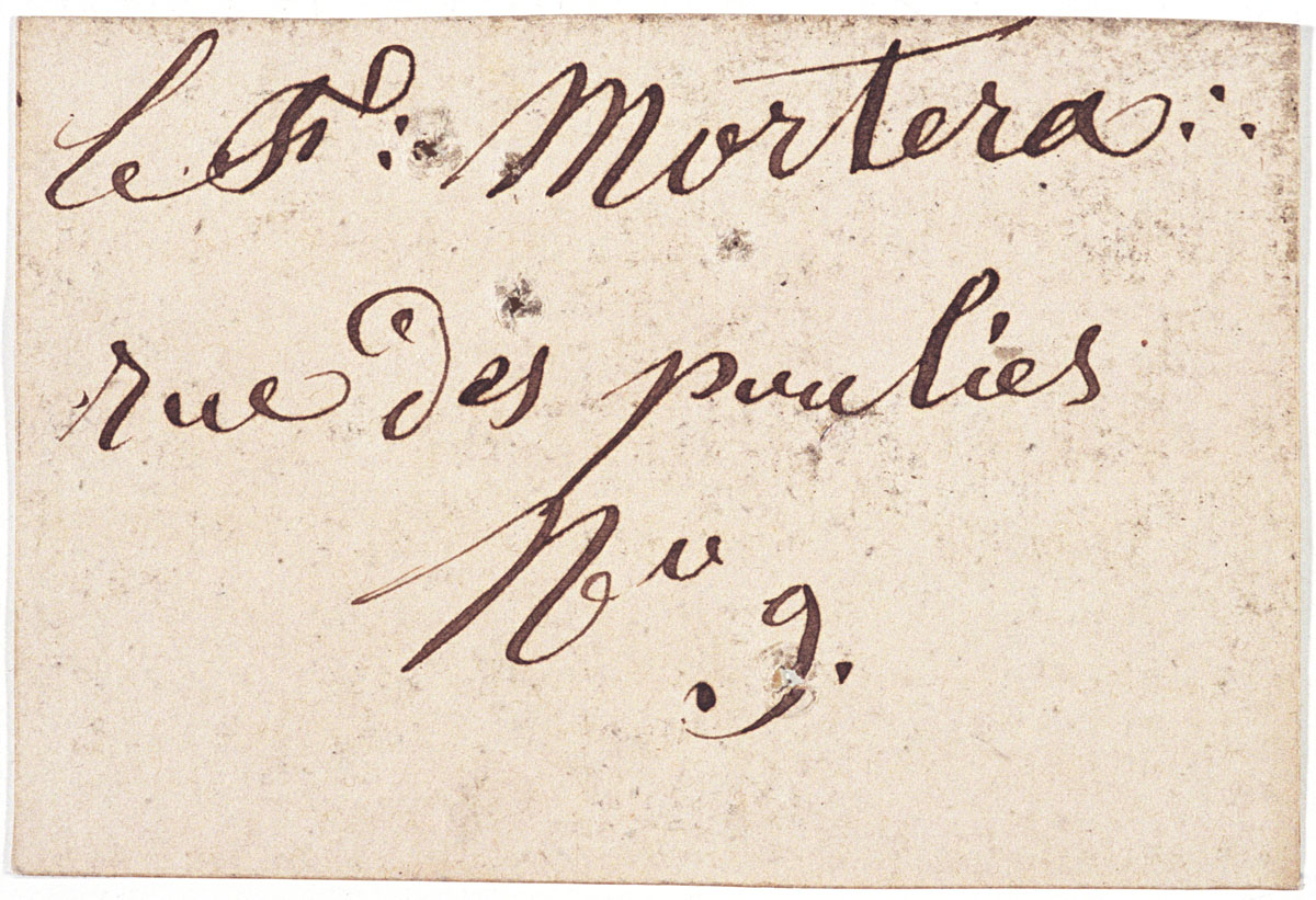 Le verso de la carte porte une inscription manuscrite à l'encre.