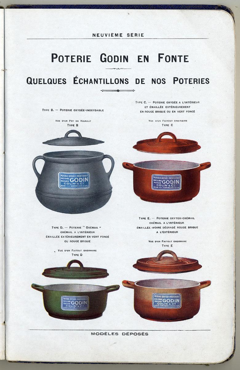 La page du catalogue, imprimée en couleurs, montre différents types de poteries.