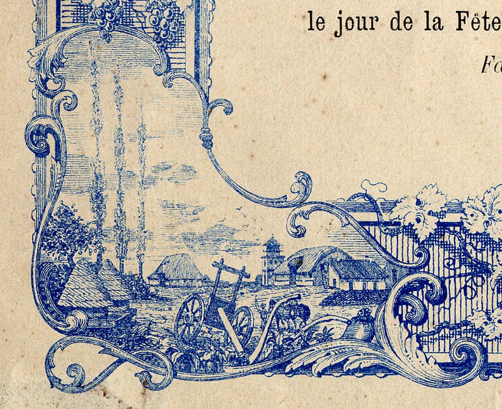 La vignette en bas à gauche du cadre du diplôme symbolise l'agriculture