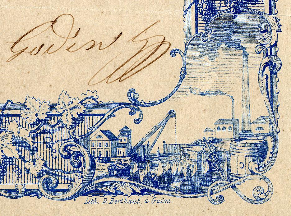 La vignette en bas à droite du cadre du diplôme symbolise l'industrie