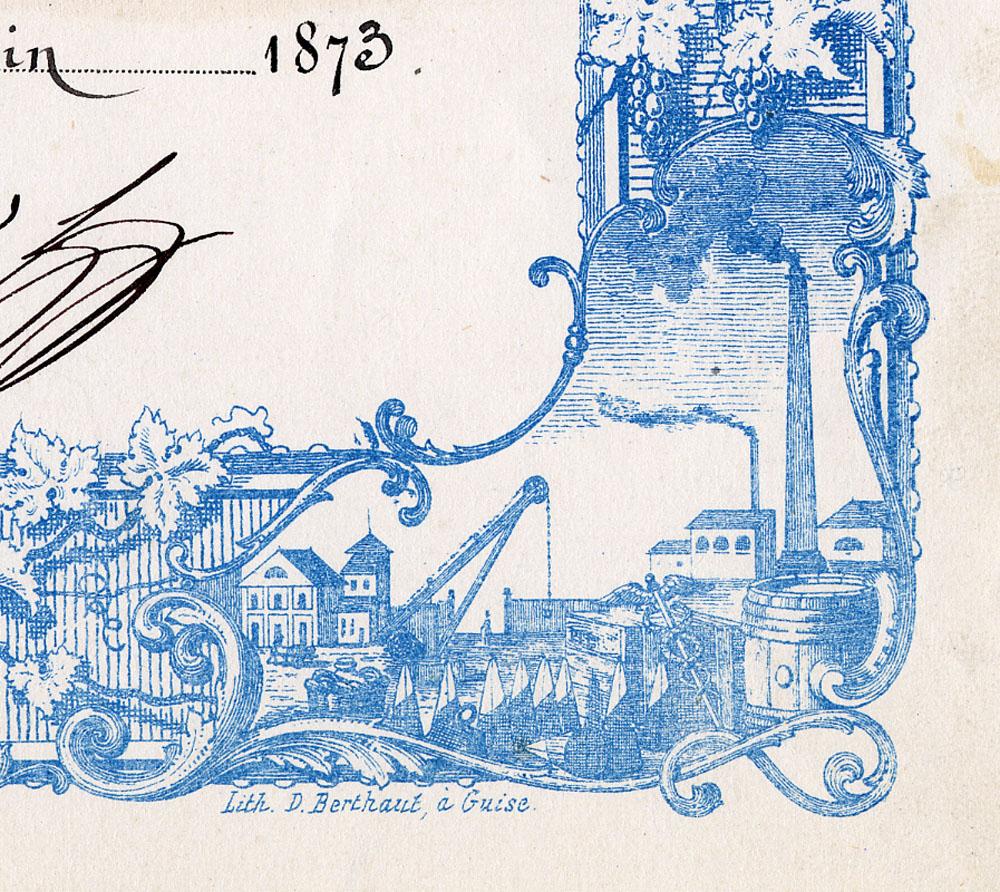 La vignette en bas à droite de la bordure symbolise l'industrie et le commerce.