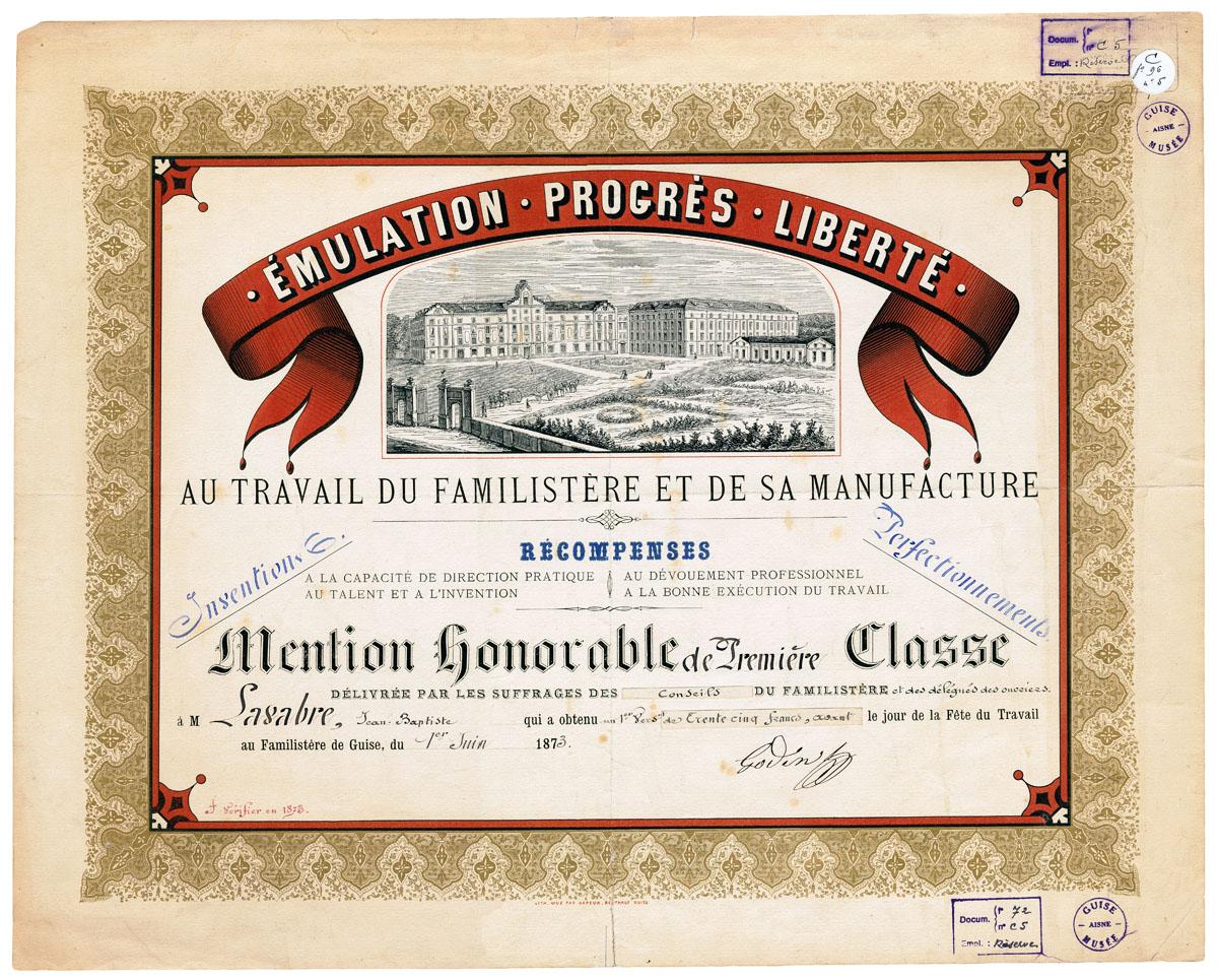 Le diplôme est orné d'une vue lithographiée du Familistère de Guise.