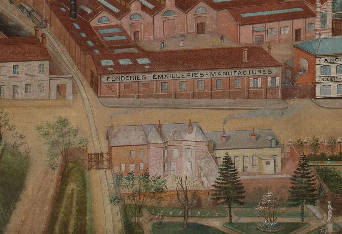 Le détail de la peinture montre la voie ferrée à la sortie de l'usine du Familis