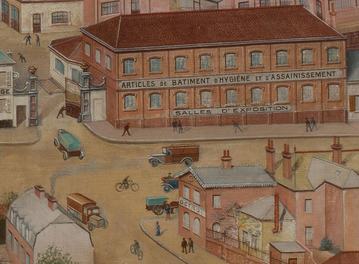 Le détail de la peinture montre l'entrée de l'usine du Familistère.