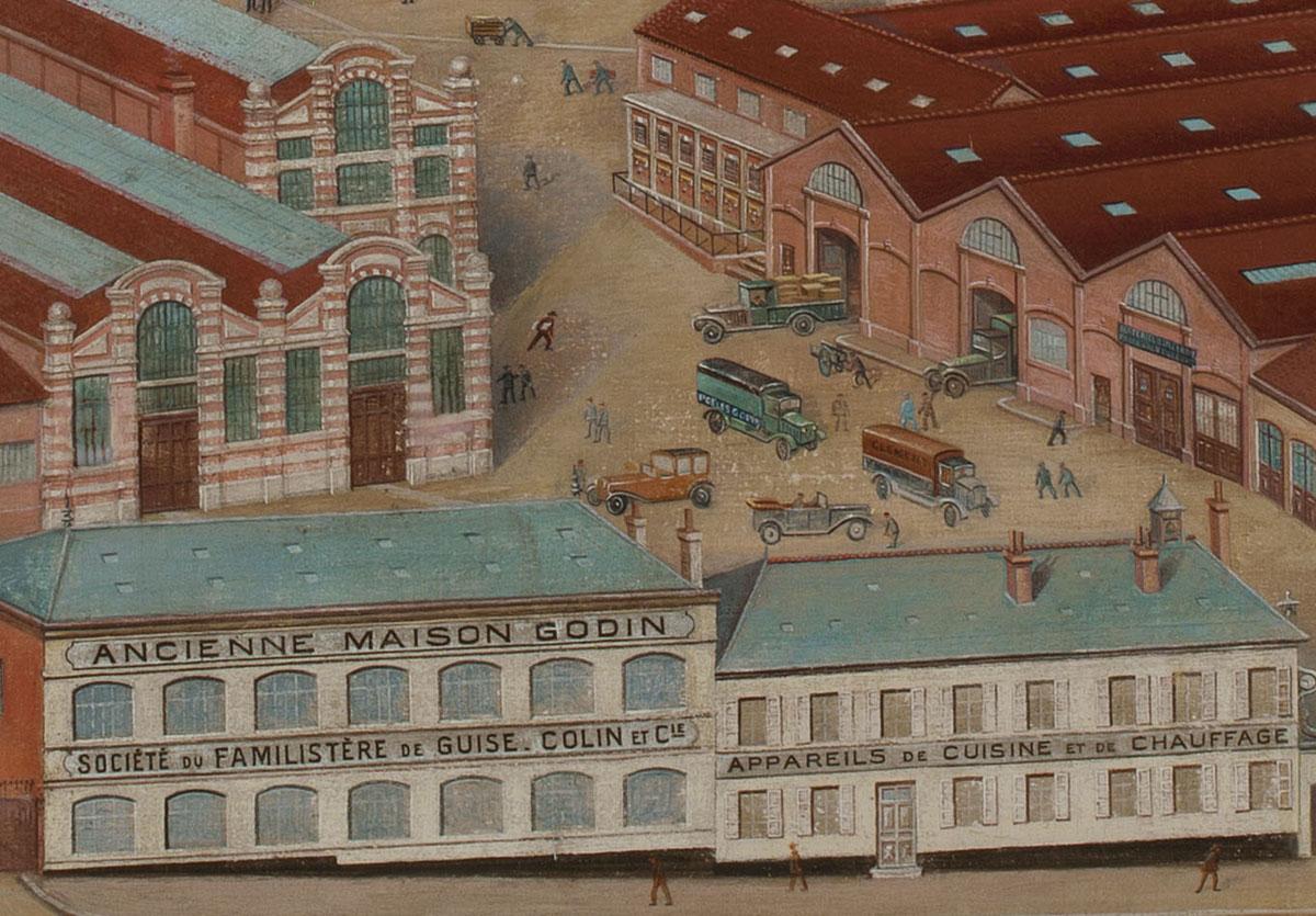 Le détail de la peinture montre la cour d'entrée de l'usine du Familistère.