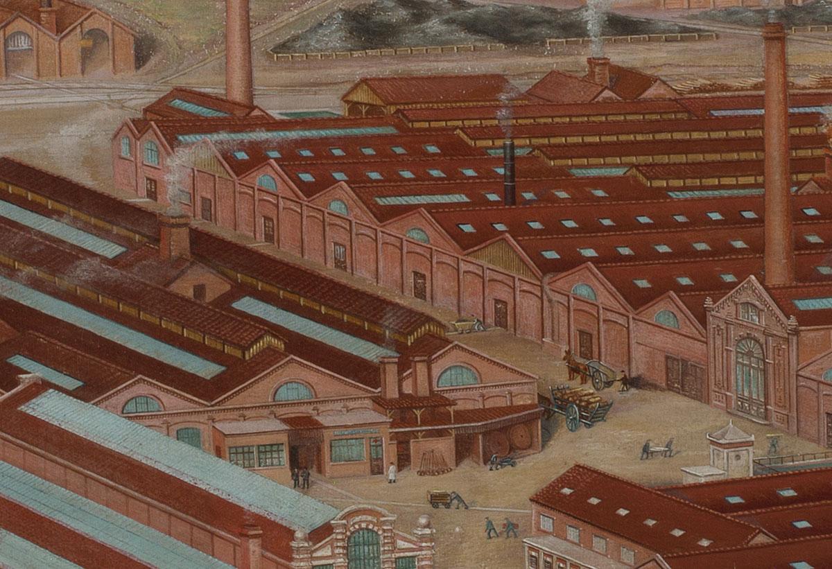 Le détail de la peinture montre la deuxième cour de l'usine du Familistère.