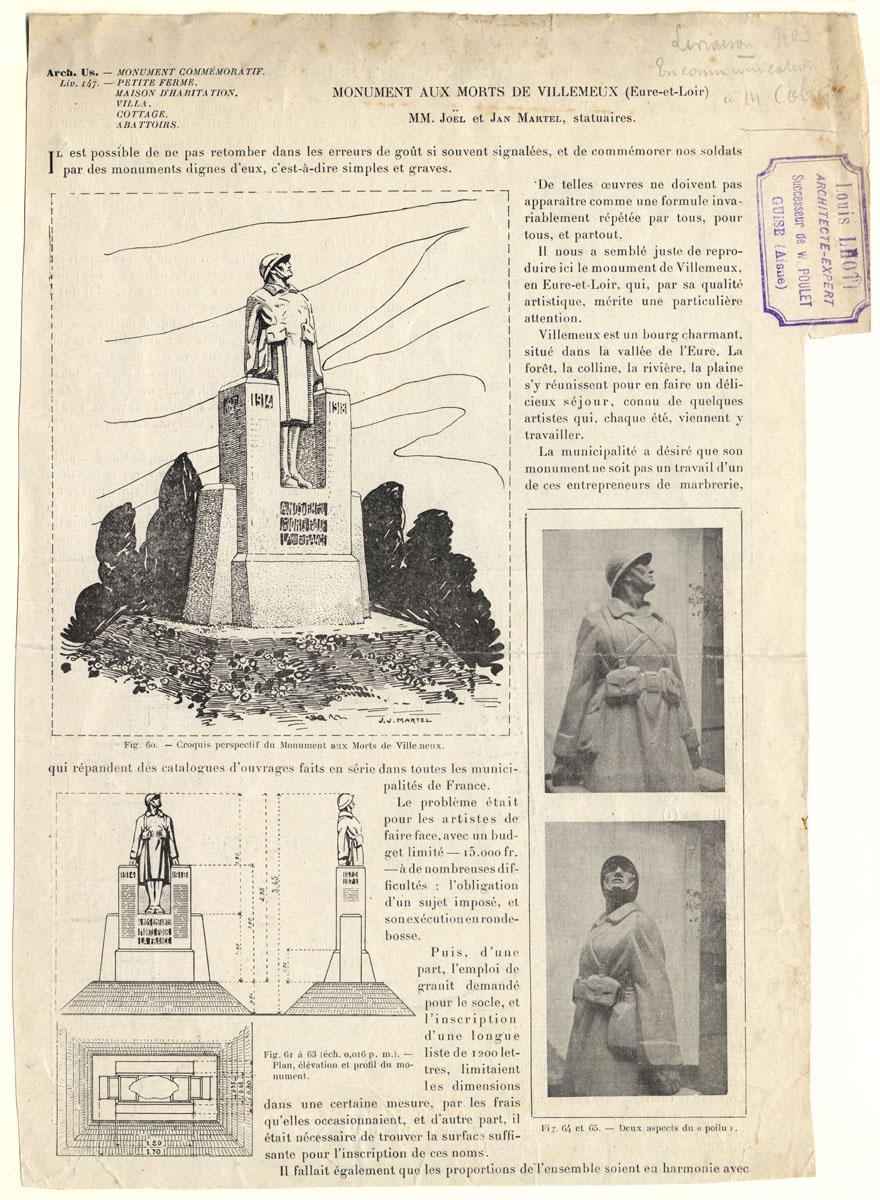 La page de la revue L'Architecture usuelle consacrée au monument aux mort de Vil