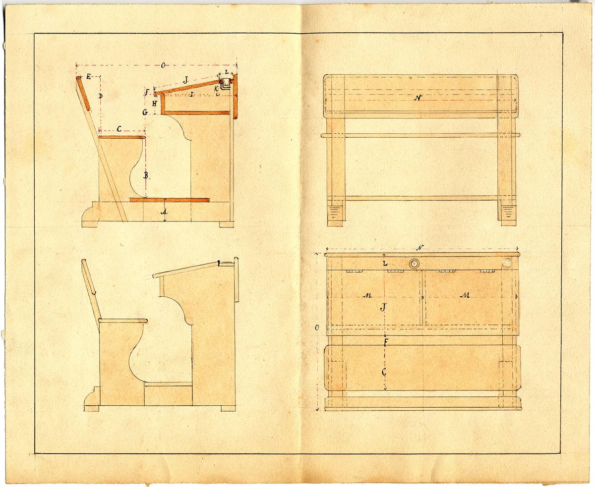 La feuille présente différents dessins de la table-banc des écoles du Familistèr