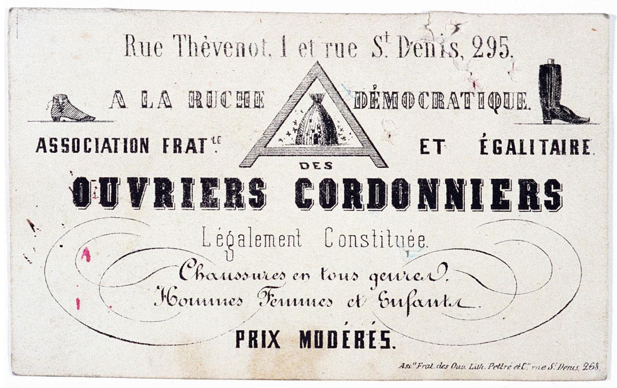 La carte présente l'Association fraternelle et égalitaires des cordonniers