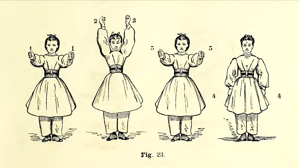 La gravure représente une enfant réalisant des figures de gymnastique.