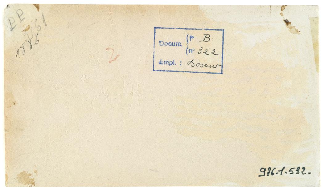 verso de la photographie montrant le dépôt de pain dans l'épicerie du Familistèr