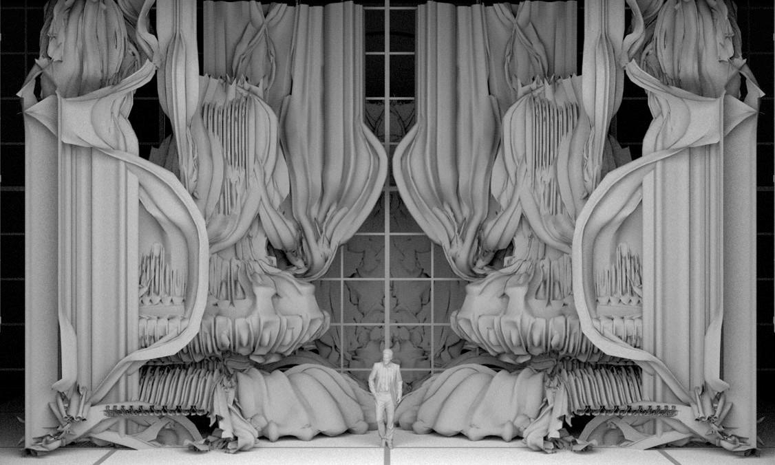 Maquette du décor de l'opéra semblant être constitué de rideaux bouffants.