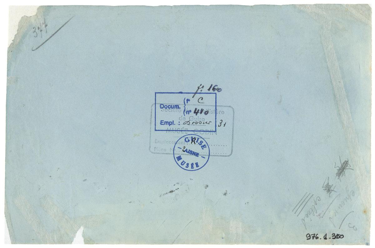 Verso de la photographie cyanotype montrant le conseil de gérance en 1893