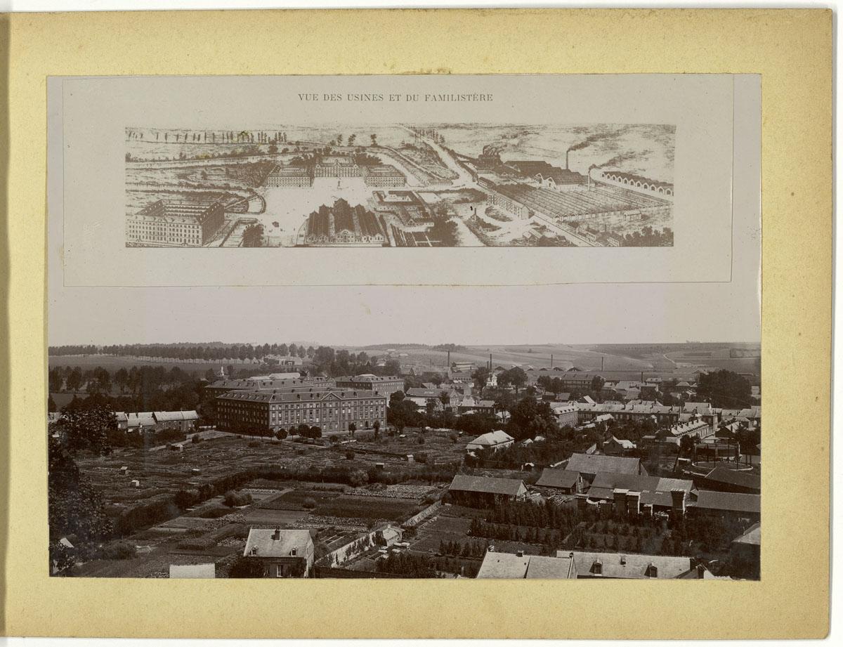 La planche porte un plan et un panorama du Familistère