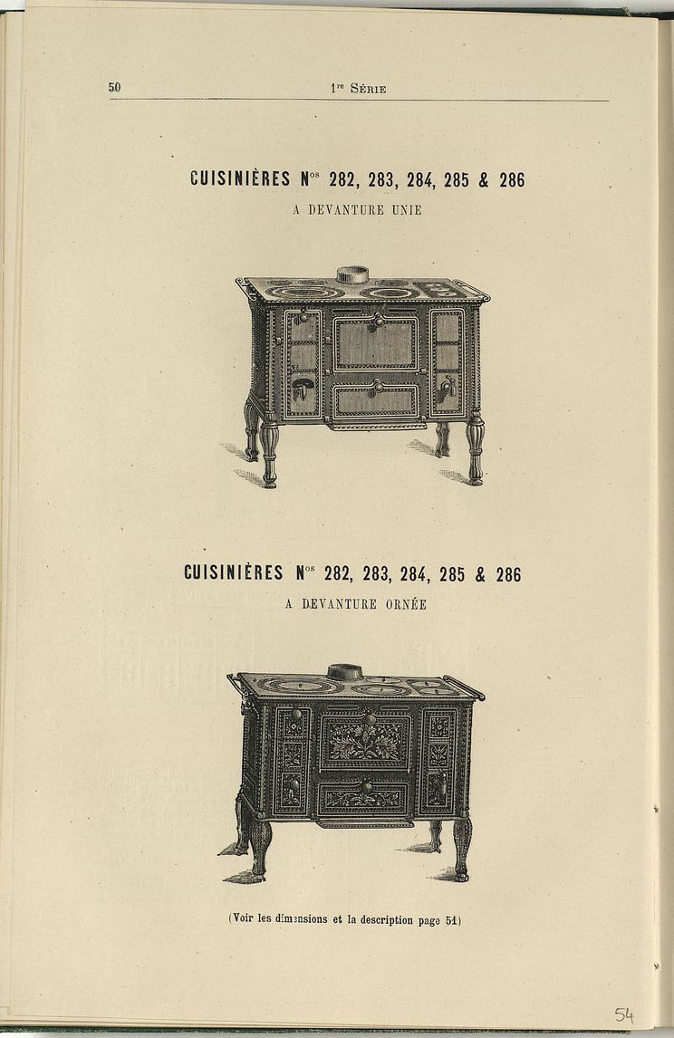 Vue d'une page de l'album de 1887 montrant les cuisinières n° 282 à 286