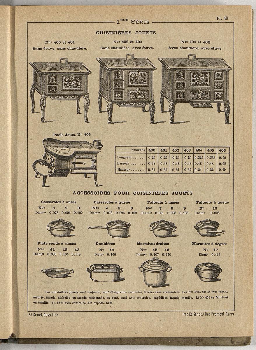 Vue d'une page de l'album de 1892 de Faure Père et Fils montrant les cuisinières