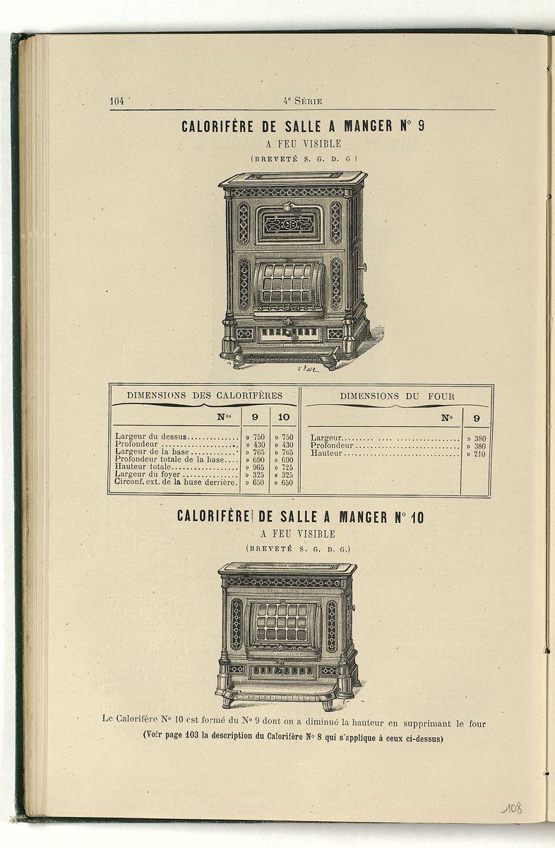 Vue d'une page de l'album de 1887 montrant l'illustration du calorifère n° 9 ide