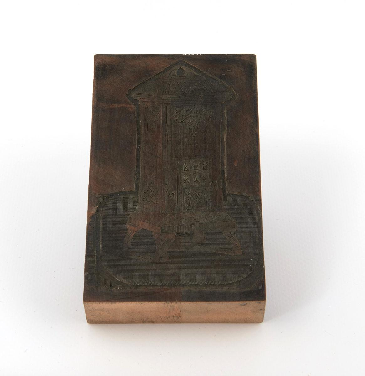 Vue du bois gravé représentant le calorifère n° 164-168.