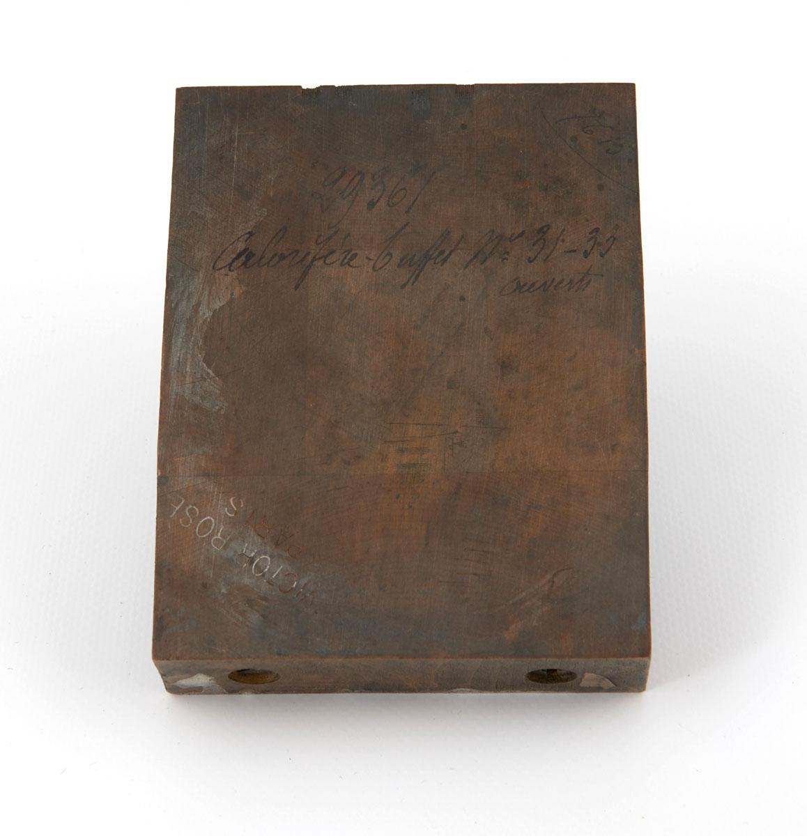 Vue du revers du bois gravé représentant le calorifère-buffet n° 31-33.