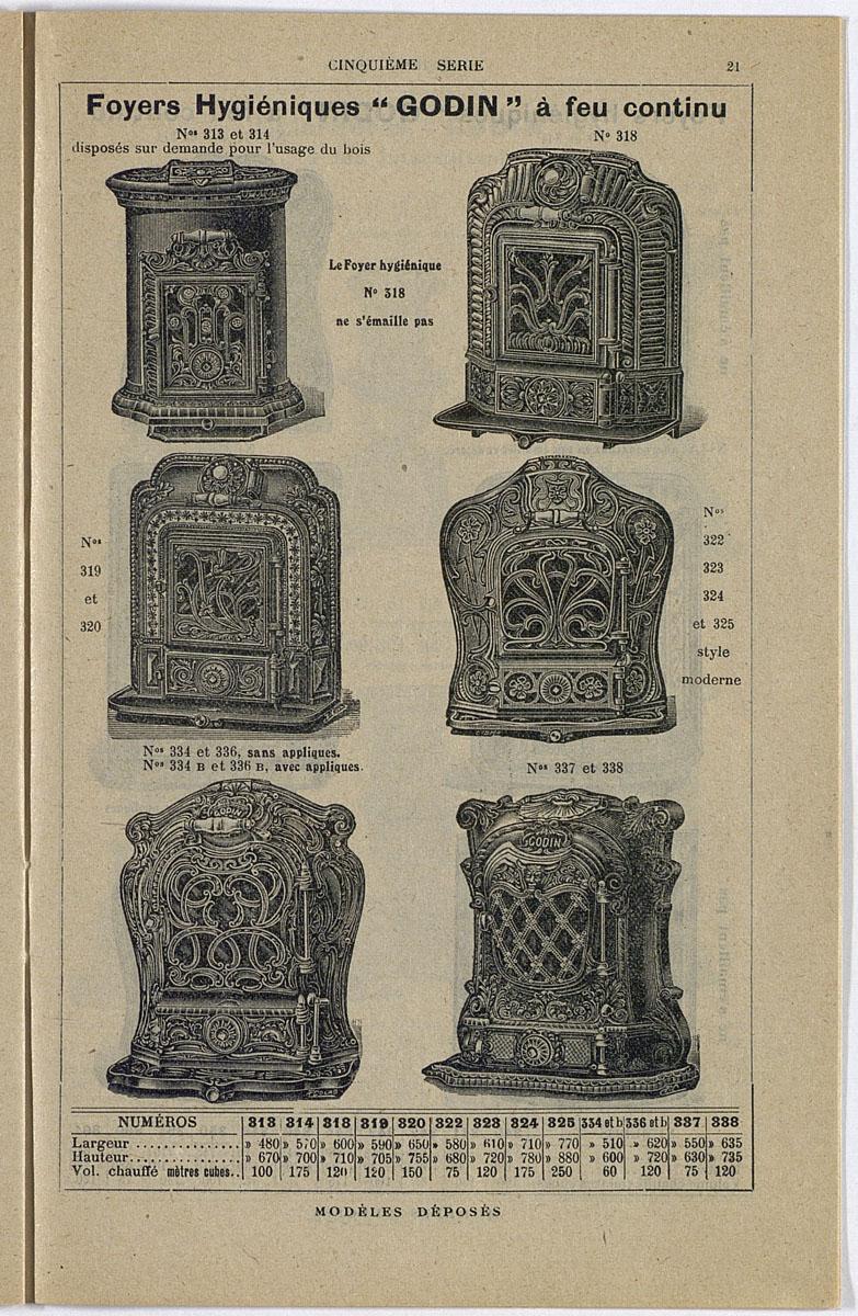 Vue d'une page du catalogue de 1913 montrant l'illustration du foyer hygiénique