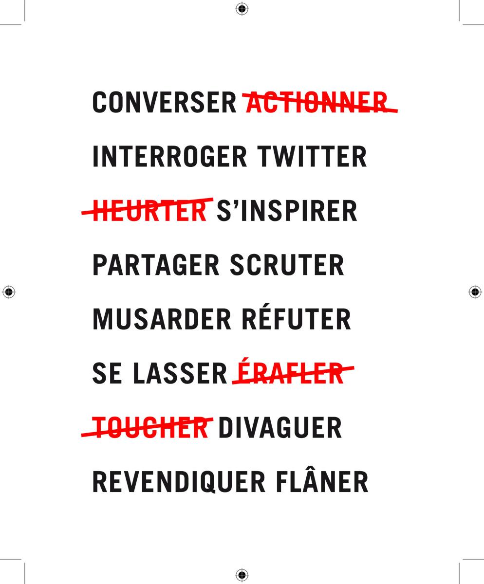 L'image montre une série de mots en noir et en rouge, ces derniers rayés.