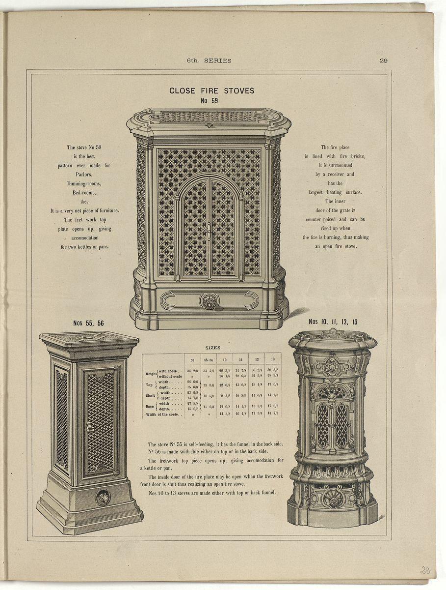 Vue d'une page du catalogue de 1880 montrant l'illustration du calorifère sembla