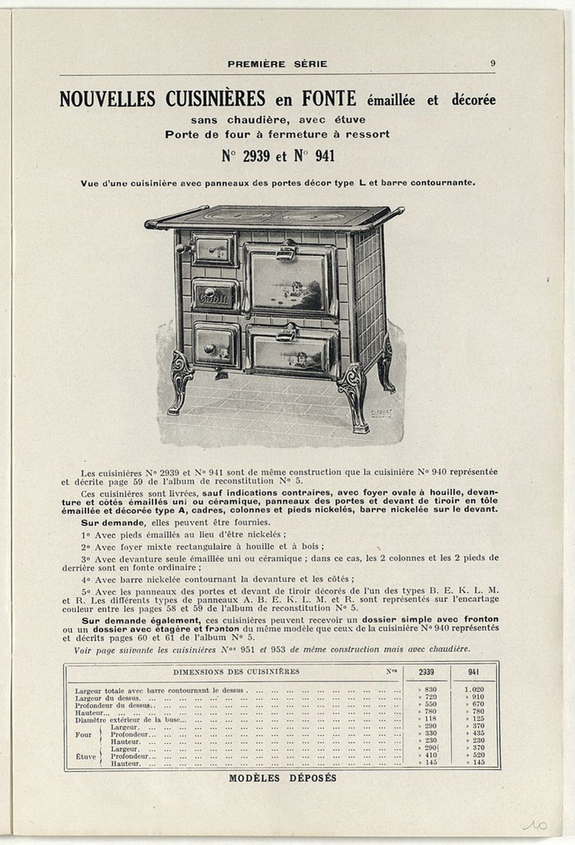 Vue de la page du supplément de 1929 montrant la cuisinière n° 941