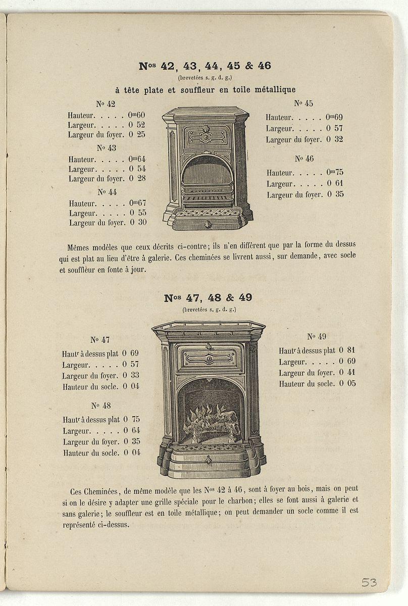 Vue de la page de l'album de 1870 montrant la cheminée n° 47