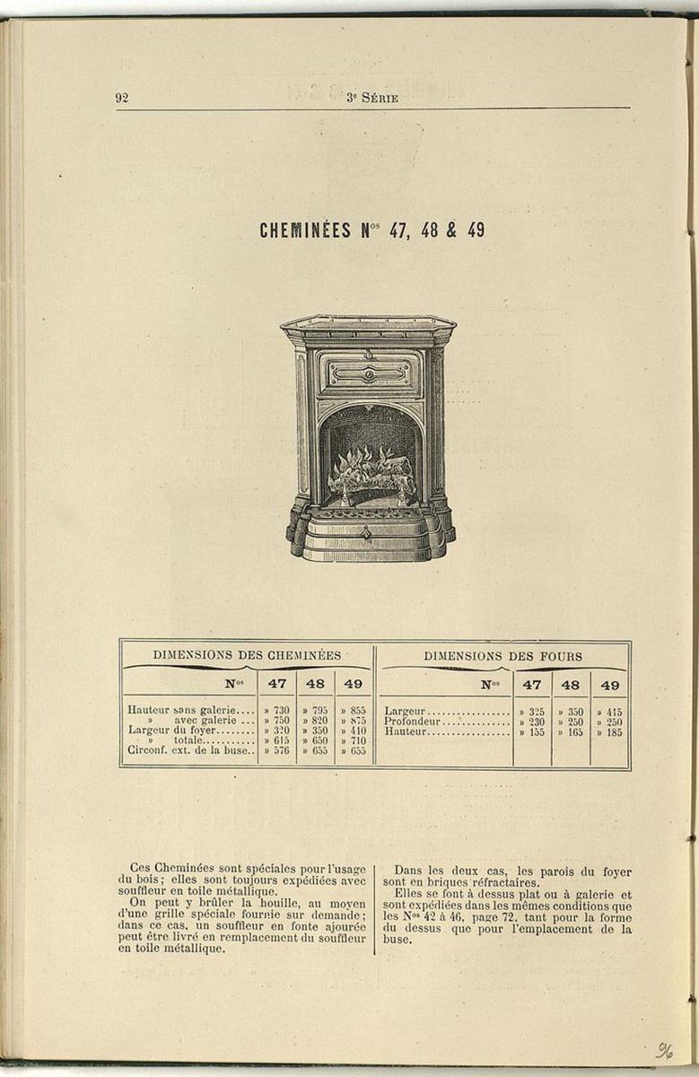 Vue de la page de l'album de 1887 montrant la cheminée n° 47