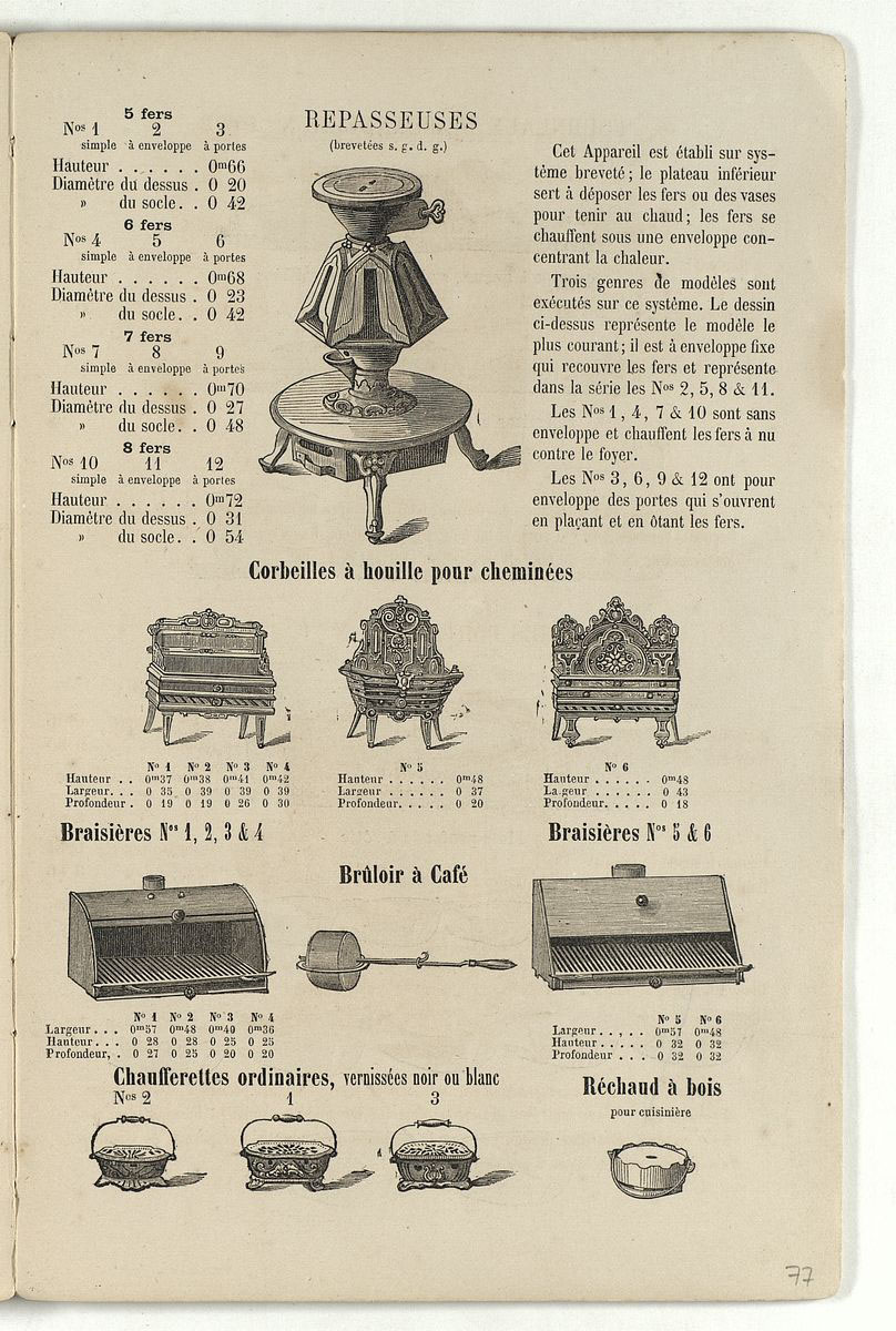 Vue de la page de l'album de 1870 montrant le modèle de repasseuses à enveloppes