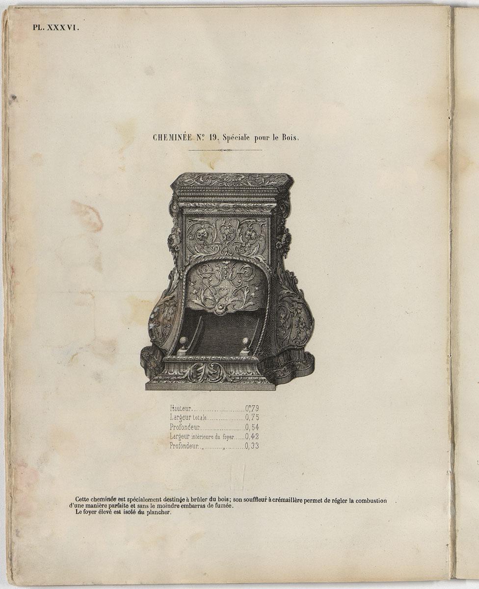 Vue de la page de l'album de 1863 figurant la cheminée n° 19