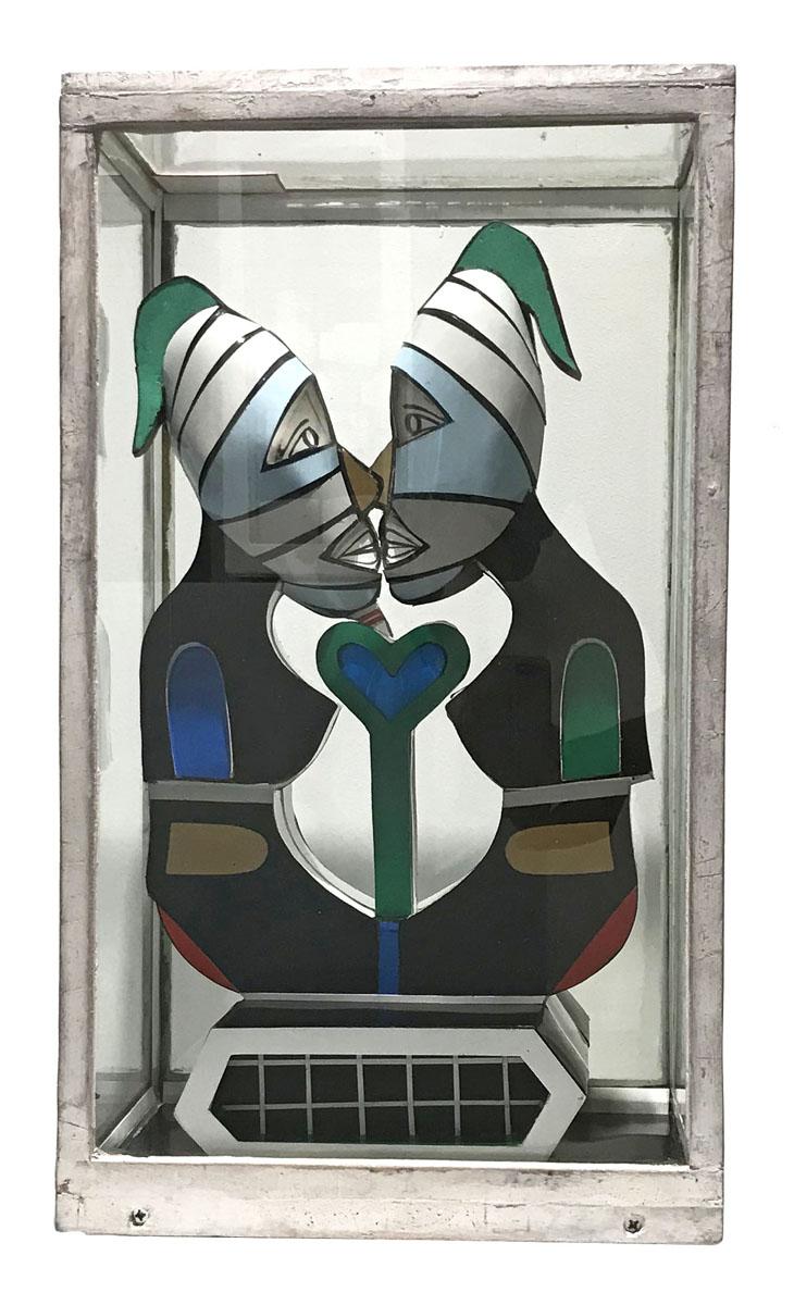 Vue d'une sculpture dans sa vitrine
