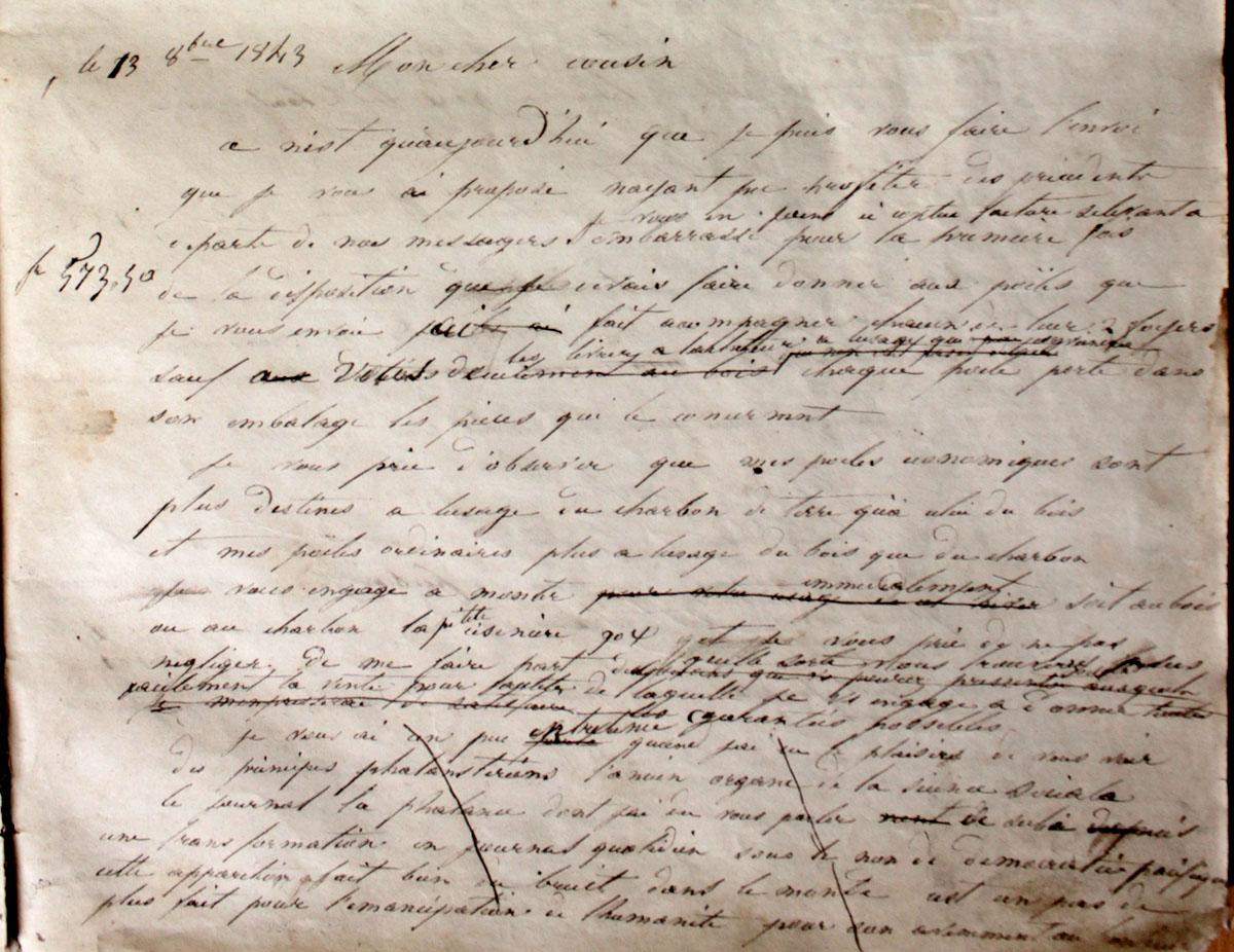 Vue d'un fragment du brouillon d'une lettre de Godin.