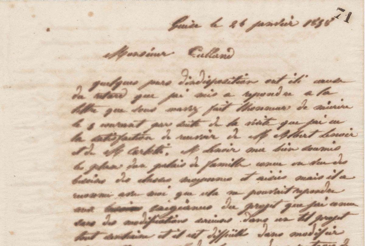 Vue d'une lettre manuscrite de Godin à Victor Calland en 1858.