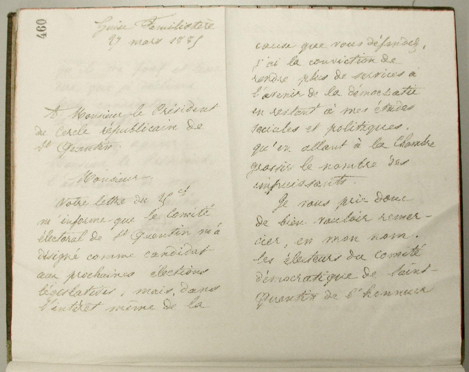 Vue de la première pas d'une lettre manuscrite.