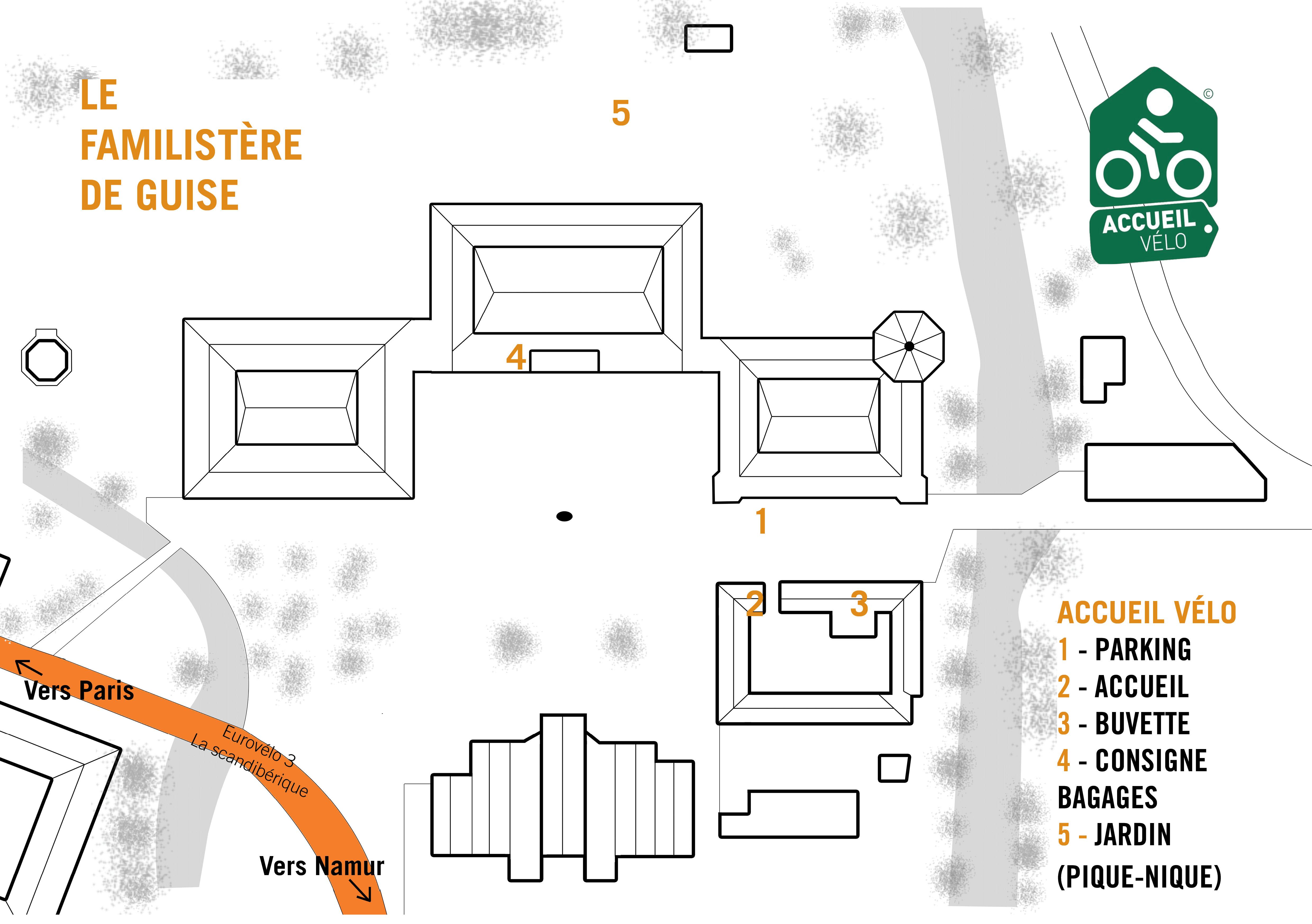 Plan du Familistère accueil vélo