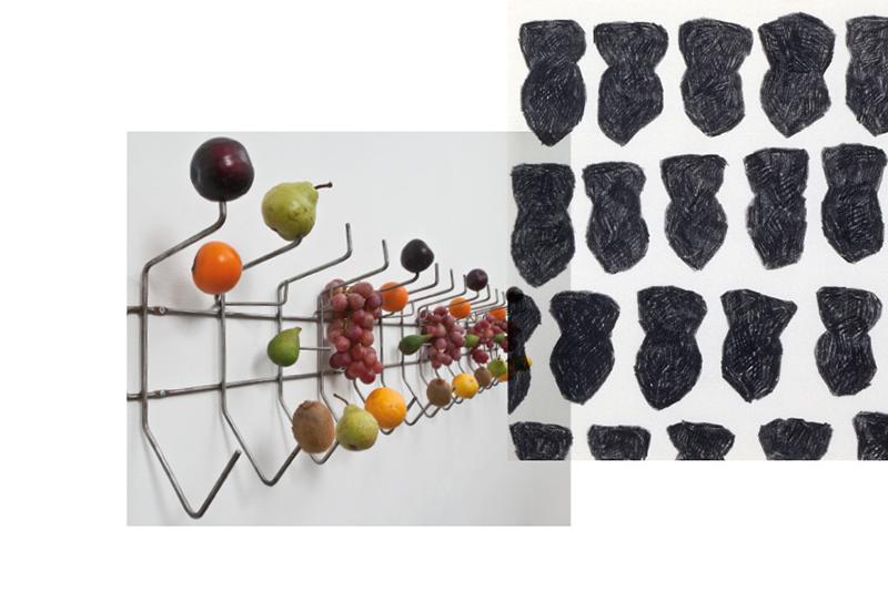 Vue d'un porte-manteaux auquel sont accrochés des fruits frais